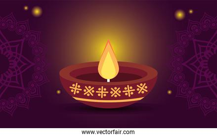 happy diwali celebration with candle wooden in purple background
