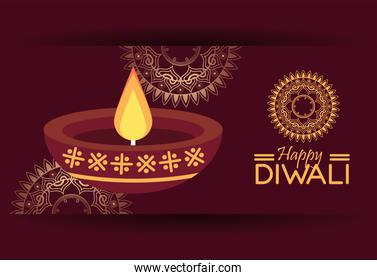 diwali celebration with candle wooden and mandalas