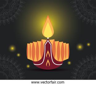 happy diwali celebration with candle wooden and lights