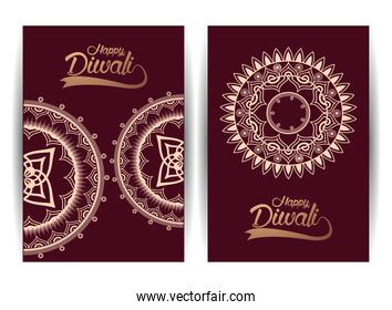 happy diwali celebration with golden mandalas and letterings