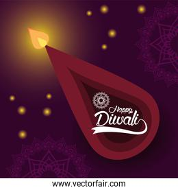 happy diwali celebration with candle airview