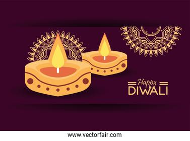 happy diwali celebration with two candles and mandalas