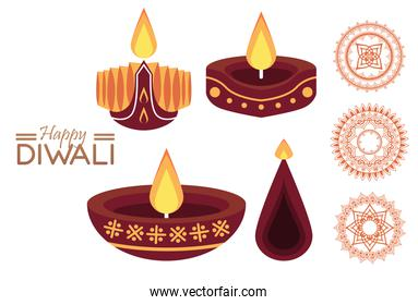 happy diwali celebration with three candles wooden