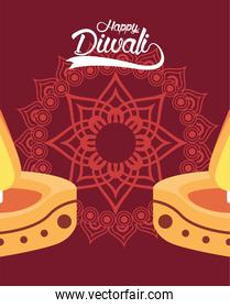 happy diwali celebration with two candles and mandala