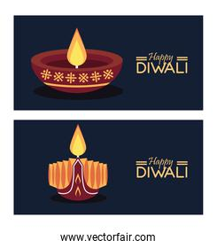 happy diwali celebration with two candles wooden and letterings