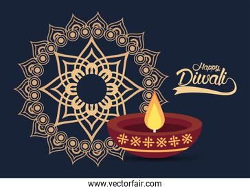 happy diwali celebration with candle wooden and golden mandala