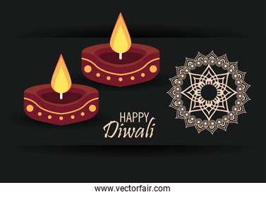happy diwali cartel with two candles wooden and mandala