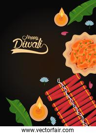 happy diwali celebration with two candles and fireworks