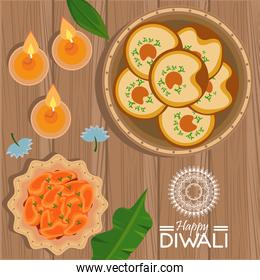 happy diwali celebration with three candles and food