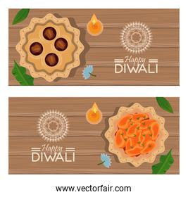 happy diwali celebration with three candles in wooden backgrounds