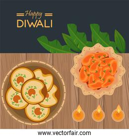 happy diwali celebration with three candles and food in table wooden