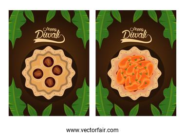 happy diwali celebration with dishes food and letterings in brown background