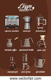 nine coffee brewing methods bundle set icons