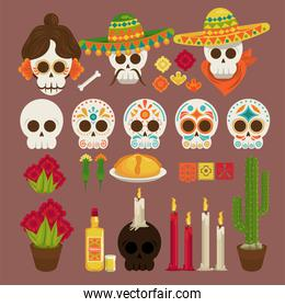 dia de los muertos poster with heads skulls and icons