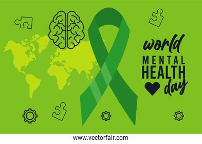 world mental health day campaign with ribbon and earth maps