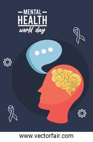 world mental health day campaign with brain profile and speech bubble