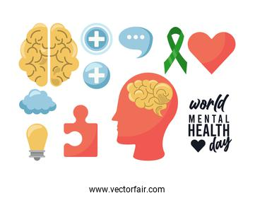 world mental health day campaign with set icons
