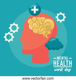 world mental health day campaign with brain profile and gears