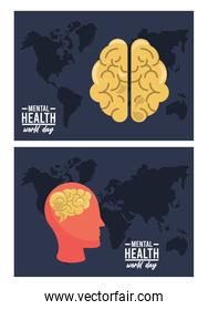 world mental health day campaign with brain profile and maps earth