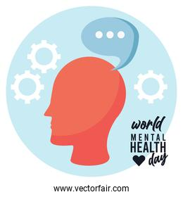 world mental health day campaign with head profile and speech bubble