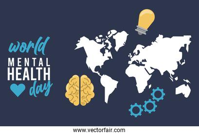 world mental health day campaign with earth maps and bulb