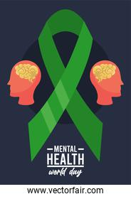world mental health day campaign with brains profiles and ribbon