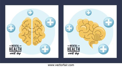 world mental health day campaign with brains