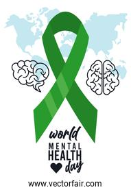 world mental health day campaign with brains and ribbon