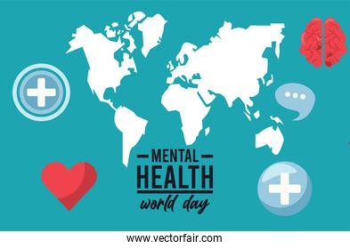 world mental health day campaign with earth maps and heart