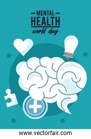 world mental health day campaign with brain organ and icons