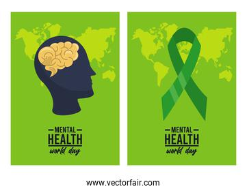world mental health day campaign with profile and ribbon