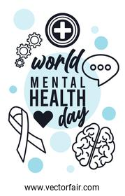 world mental health day campaign with lettering and icons line style around
