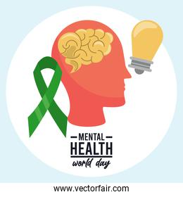world mental health day campaign with profile and ribbon with bulb