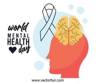 world mental health day campaign with brain profile and ribbon