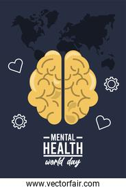 world mental health day campaign with set icons around in earth maps