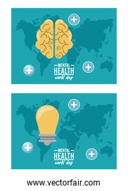 world mental health day campaign with brain and bulb in earth maps