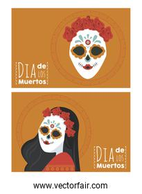 dia de los muertos poster with katrina skulls and letterings