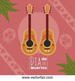dia de los muertos poster with guitars and leafs
