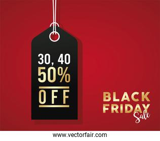 black friday sale banner with black tag hanging