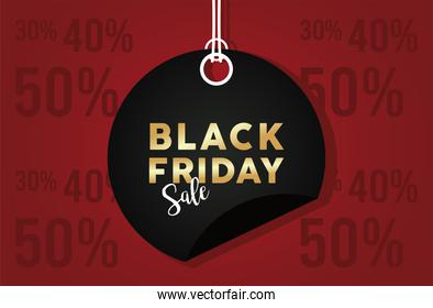 black friday sale banner with circular tag hanging