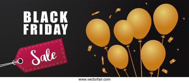 black friday sale lettering banner with golden balloons helium and tag