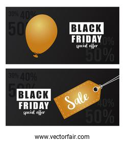 black friday sale banner with golden tag and balloon helium