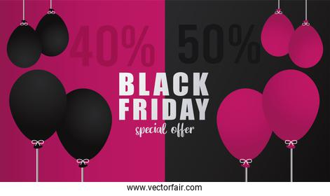 black friday sale lettering banner with balloons helium colors