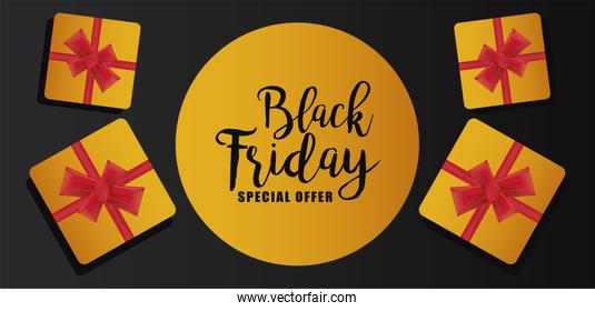 black friday sale banner with golden gifts