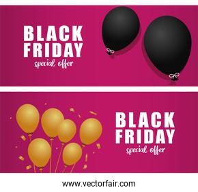 black friday sale banners with balloons helium