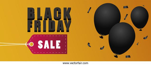 black friday sale lettering banner with balloons helium and tag hanging