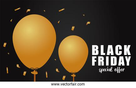 black friday sale lettering banner with golden balloons helium in black background
