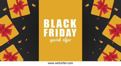 black friday sale banner with golden gifts presents