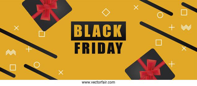 black friday sale banner with gifts in yellow background