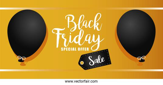 black friday sale lettering banner with balloons helium in yellow background